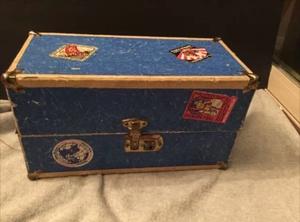 Vintage children's doll steamer trunk