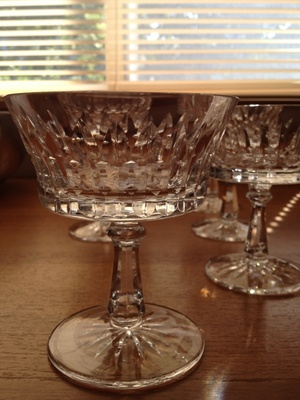 Crystal compote, dessert stemware set of six.