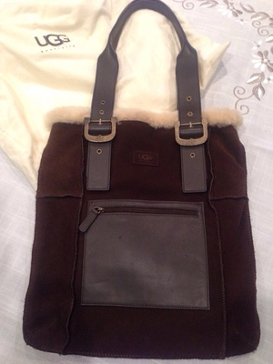 UGG Tote Handbag in brown Suede and leather