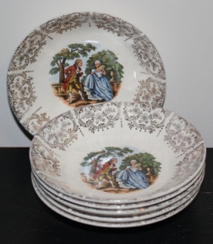 Set if small pastoral scene bowls