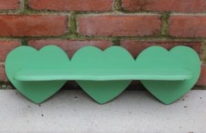 Triple heart green painted shelf