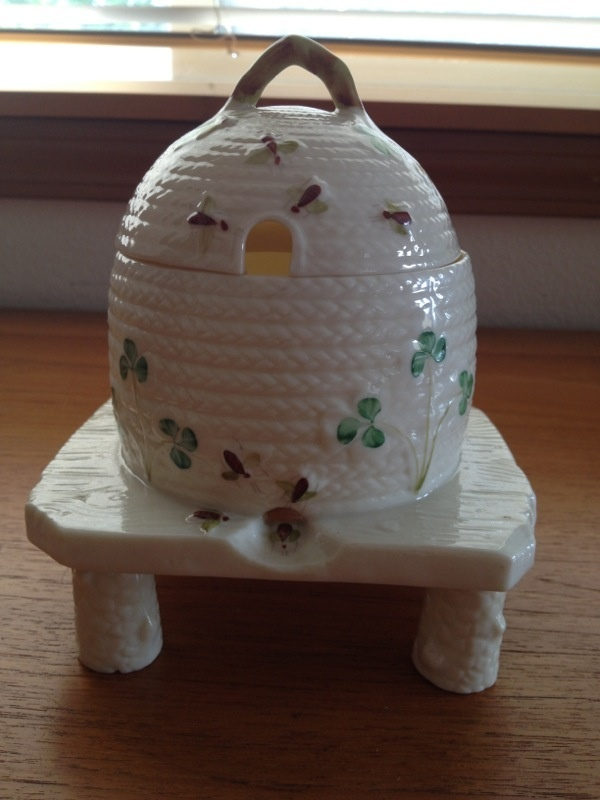 Belleek honey pot