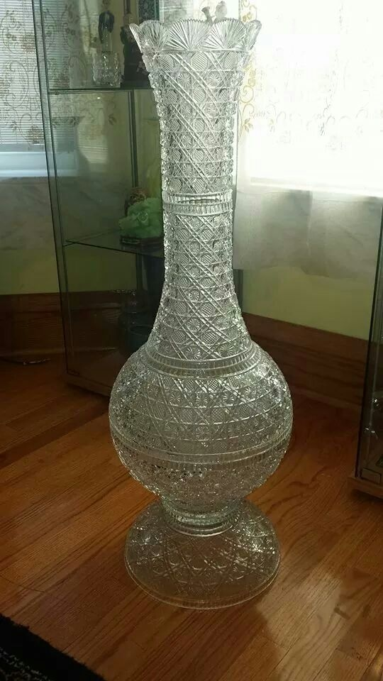 3 1/2 foot tall crystal floor vase